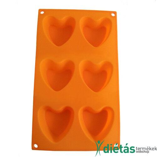 Szilikon szív alakú forma 6 db-os