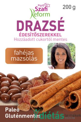 Szafi Reform Fahéjas mazsolás drazsé kakaós bevonattal, édesítőszerekkel (gluténmentes, paleo) 200g