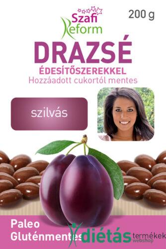 Szafi Reform Szilvás drazsé kakaós bevonattal, édesítőszerekkel (gluténmentes, paleo) 200g