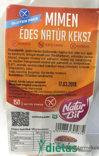 Naturbit Mimen édes natúr gluténmentes keksz (MINDENMENTES) 150 g