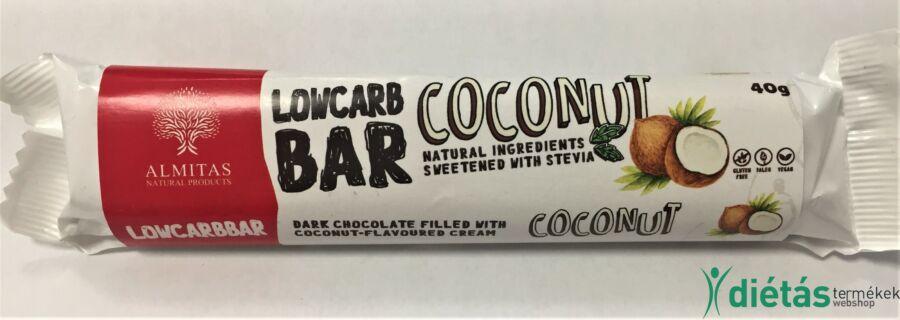 Almitas kókuszkrémmel töltött étcsokoládé szelet 40 g