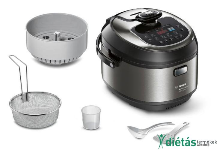 Bosch Multicooker Nemesacél hatású kivitel / fekete elektromos főzőedény 1200 W