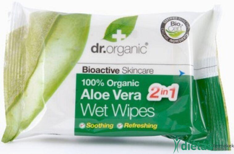 Dr.Organic BIO aloe vera nedves törlőkendő 20 db