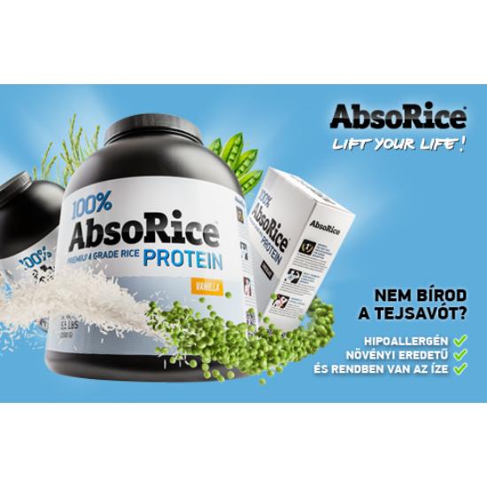 AbsoRice VANÍLIÁS szójamentes és gluténmentes vega fehérjepor 500g