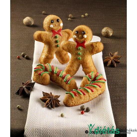 SilikoMart arany színű mézeskalács emberke és cukor pálca sütőforma, szilikon 6db-os