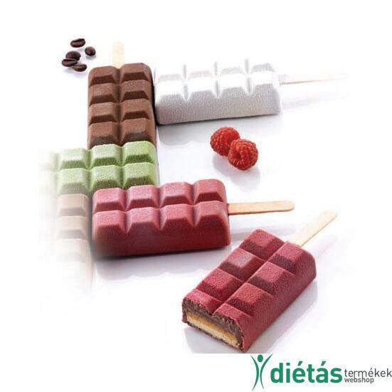 Silikomart jégkrém készítő forma csokitábla alakú, szilikon 4db-os