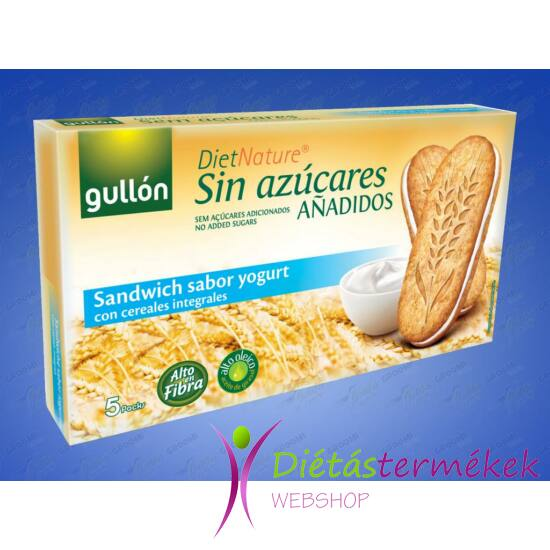 Gullon Joghurt ízesítésű reggeli szendvics keksz (hozzáadott cukormentes) 220 g
