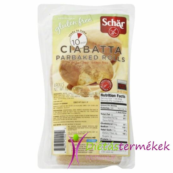 Schär Ciabatta elősütött zsemlék (tejmentes, tojásmentes, gluténmentes) 200 g