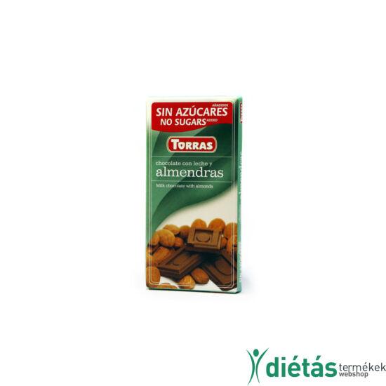 Torras Mandulás hozzáadott cukormentes tejcsokoládé (gluténmentes) 75 g