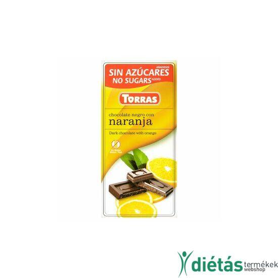Torras Narancsos hozzáadott cukormentes étcsokoládé (gluténmentes, tejmentes) 75 g