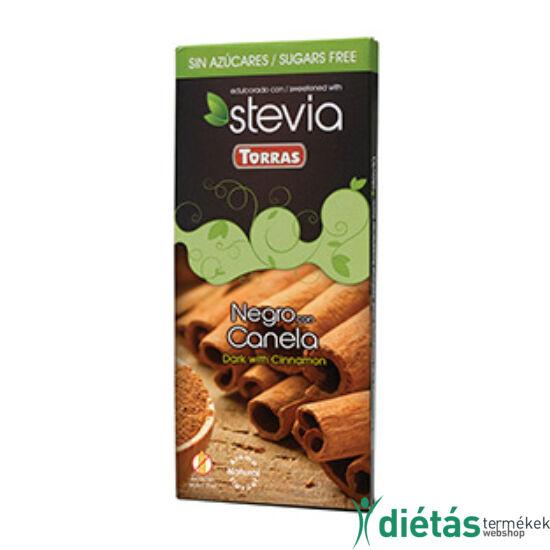 Torras Stevia Fahéjas hozzáadott cukormentes étcsokoládé (gluténmentes, tejmentes) 125 g
