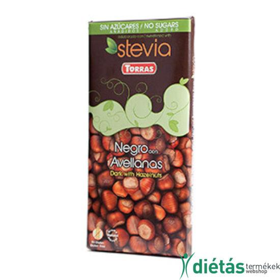Torras Stevia Mogyorós hozzáadott cukormentes étcsokoládé (gluténmentes, tejmentes) 125 g