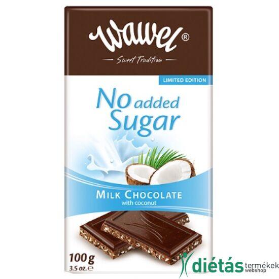 Wawel hozzáadott cukormentes tejcsokoládé kókusszal 100 g