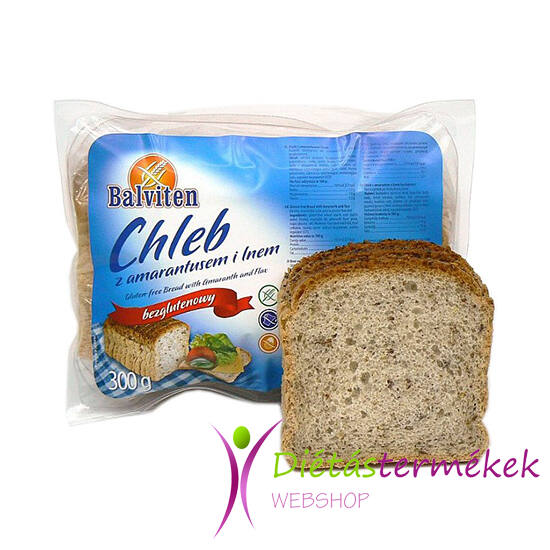 Balviten amarantos, lenmagos kenyér (glutén-, tej-, tojásmentes) 300 g