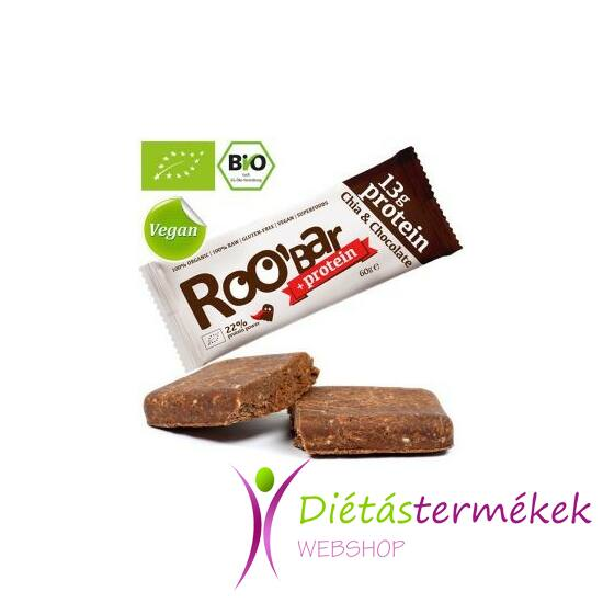 Roobar Bio protein szelet chia-kakaó (paleo, vegán, gluténmentes) 60 g
