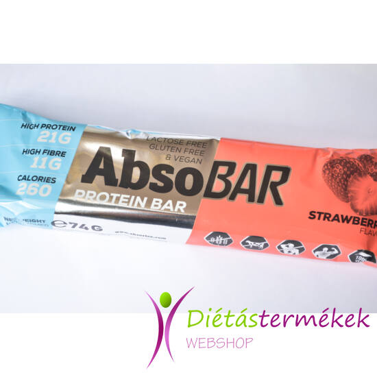 AbsoBar protein szelet epres (gluténmentes, vegán) 74g