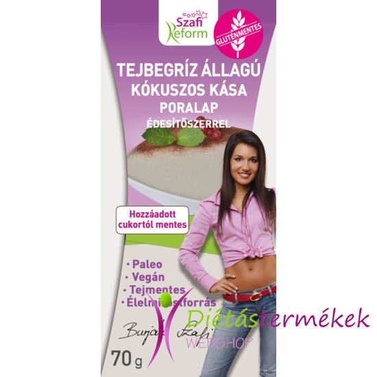 Szafi Reform tejbegríz állagú kókuszos kása poralap édesítőszerrel  70 g (paleo, vegán, gluténmentes, tejmentes)