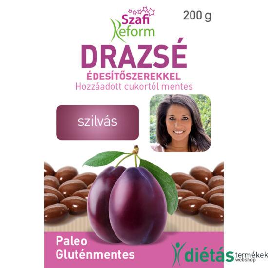 Szafi Reform Szilvás drazsé kakaós bevonattal, édesítőszerekkel (gluténmentes, paleo) 200 g