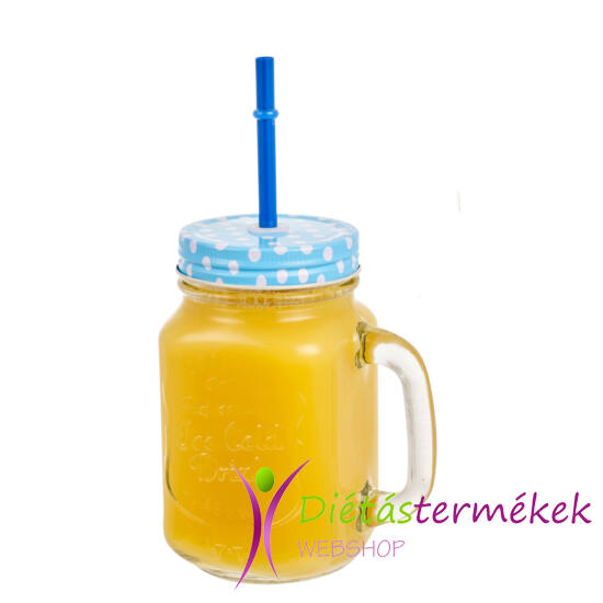 Retro Limonádés korsó KÉK 0,5 L, Tető+Szívószál