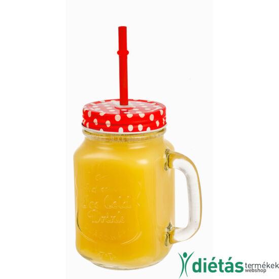 Retro Limonádés korsó PIROS 0,5 L, Tető+Szívószál
