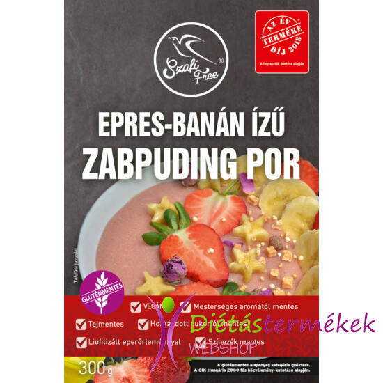 Szafi Free epres-banán ízű zabpuding por (gluténmentes, tejmentes, tojásmentes) 300 g