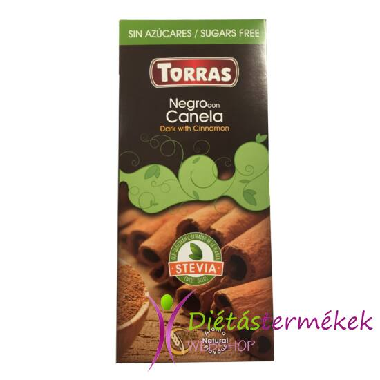Torras Stevia Fahéjas étcsokoládé hozzáadott cukor nélkül, édesítőszerrel (gluténmentes, tejmentes) 125 g
