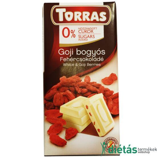 Torras Goji bogyós hozzáadott cukormentes fehércsokoládé  (Gluténmentes) 75 g