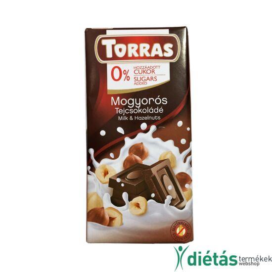 Torras Mogyorós hozzáadott cukormentes tejcsokoládé (gluténmentes) 75 g