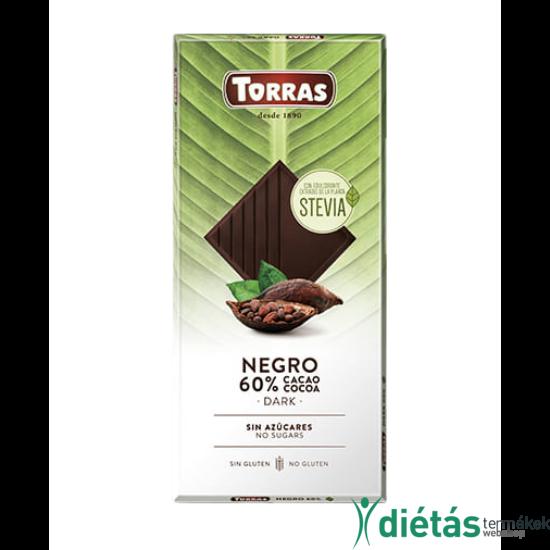 Torras Stevia hozzáadott cukormentes Étcsokoládé (gluténmentes, tejmentes) 100g