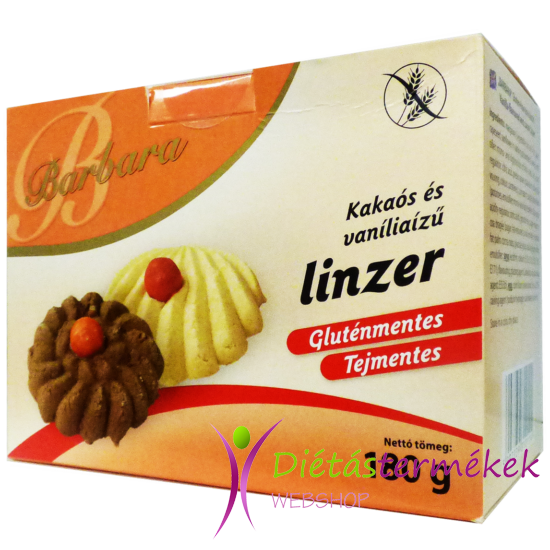 Barbara gluténmentes kakaós és vaníliás linzer  (tejmentes) 180 g