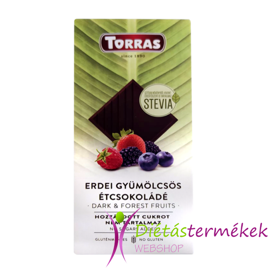 Torras Stevia Erdei Gyümölcsös étcsokoládé hozzáadott cukor nélkül 125 g