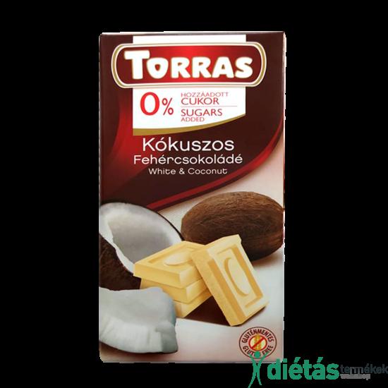 Torras Kókuszos hozzáadott cukormentes fehércsokoládé  (gluténmentes) 75 g