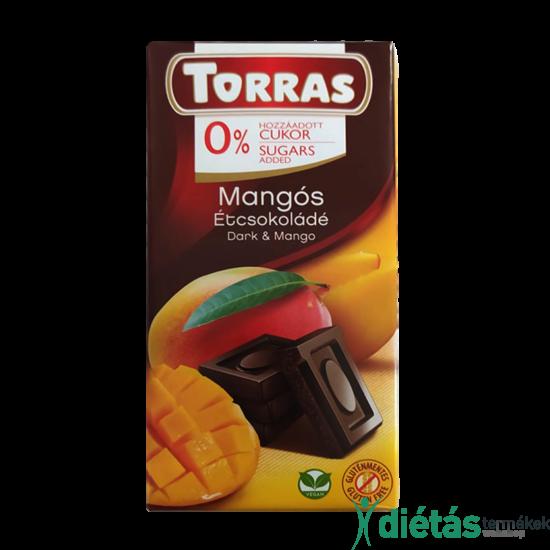 Torras Mangós hozzáadott cukormentes étcsokoládé (gluténmentes, tejmentes) 75 g